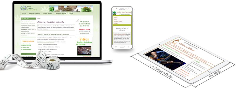 Sites web sur mesure affichés sur différentes plateformes mobiles
